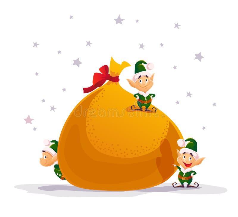 Διανυσματικές επίπεδες Χαρούμενα Χριστούγεννα και απεικόνιση καλής χρονιάς διανυσματική απεικόνιση