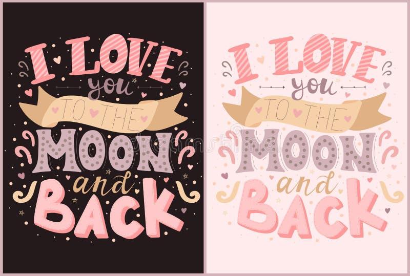 Διανυσματικές επιγραφές σ' αγαπώ στο φεγγάρι και πίσω στα ρόδινα και πορφυρά χρώματα Απεικόνιση στα σκοτεινά και ελαφριά υπόβαθρα ελεύθερη απεικόνιση δικαιώματος