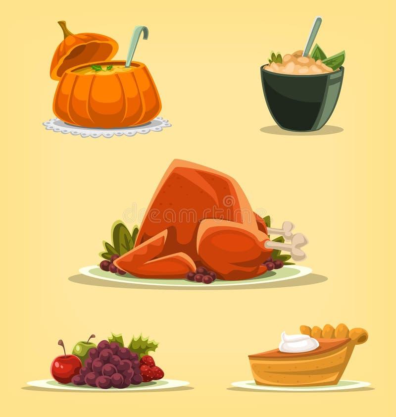 Διανυσματικές επιλογές πιάτων ημέρας των ευχαριστιών κινούμενων σχεδίων διανυσματική απεικόνιση