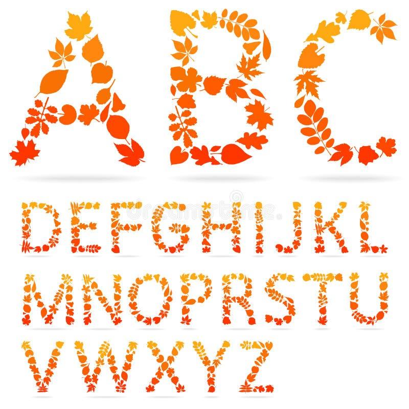 Διανυσματικές επιστολές αλφάβητου που γίνονται από τα ζωηρόχρωμα φύλλα φθινοπώρου ελεύθερη απεικόνιση δικαιώματος