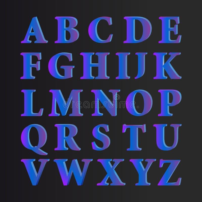 Διανυσματικές επιστολές αλφάβητου στο Μαύρο απεικόνιση αποθεμάτων