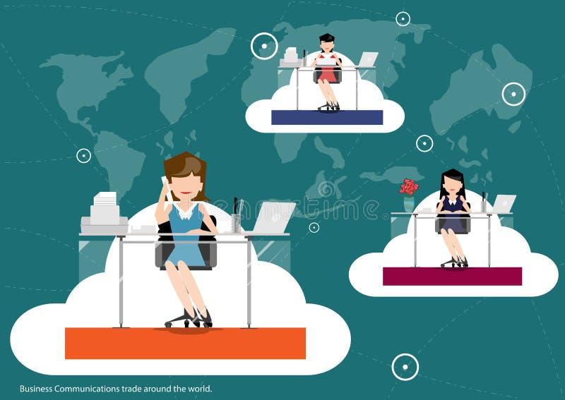 Διανυσματικές επιχειρησιακές επικοινωνίες σε όλο τον κόσμο, επίπεδο σχέδιο εμπορικών συναλλαγών ελεύθερη απεικόνιση δικαιώματος