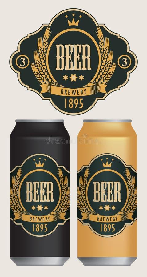 Διανυσματικές ετικέτες μπύρας για δύο δοχεία μπύρας απεικόνιση αποθεμάτων