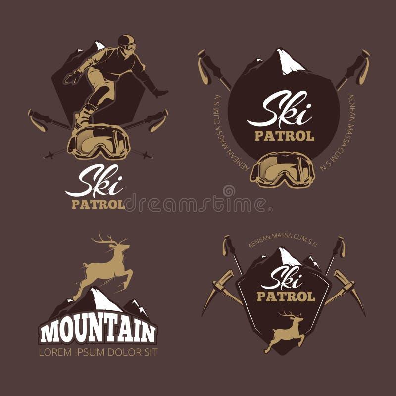 Διανυσματικές ετικέτες χρώματος ορειβασίας Εκλεκτής ποιότητας λογότυπο χιονοδρομικών κέντρων διανυσματική απεικόνιση
