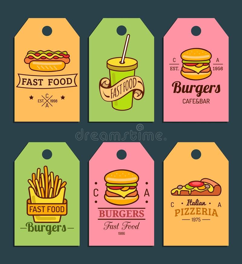 Διανυσματικές ετικέττες γρήγορου φαγητού Burgers, χοτ-ντογκ, πατάτα τηγανητών, πίτσα κ.λπ. απεικονίσεις Συρμένη χέρι γρήγορη συλλ ελεύθερη απεικόνιση δικαιώματος