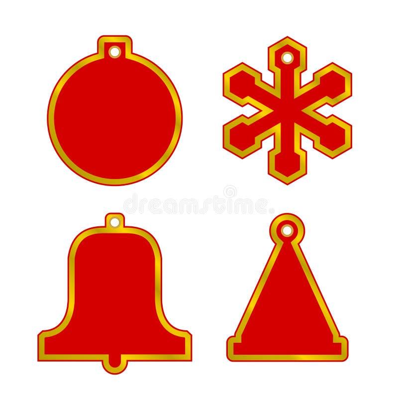 Διανυσματικές ετικέττες πώλησης Χριστουγέννων κενές κόκκινες καθορισμένες Σφαίρα, Snowflake, κουδούνι, καπέλο Χαρούμενα Χριστούγε ελεύθερη απεικόνιση δικαιώματος