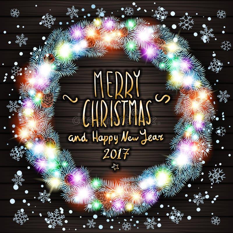 Διανυσματικές εύθυμες chrismas και καλή χρονιά 2017 Τα άσπρα Χριστούγεννα πυράκτωσης ανάβουν το στεφάνι για το σχέδιο ευχετήριων  ελεύθερη απεικόνιση δικαιώματος