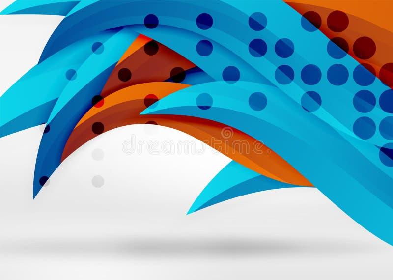 Διανυσματικές ζωηρόχρωμες γραμμές κυμάτων στο άσπρο και γκρίζο τρισδιάστατο διάστημα διανυσματική απεικόνιση