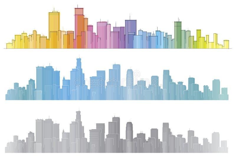 Διανυσματικές ζωηρόχρωμες πόλεις διανυσματική απεικόνιση