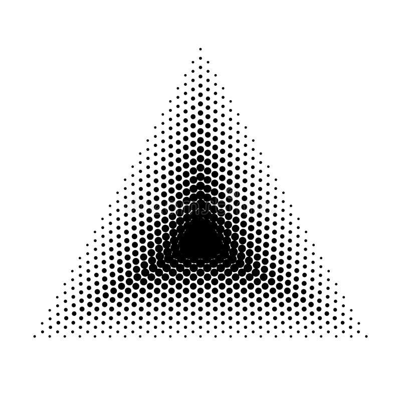 Διανυσματικές ημίτοές γεωμετρικές μορφές τριγώνων, αφηρημένο υπόβαθρο σημείων Απεικόνιση Dotwork ελεύθερη απεικόνιση δικαιώματος