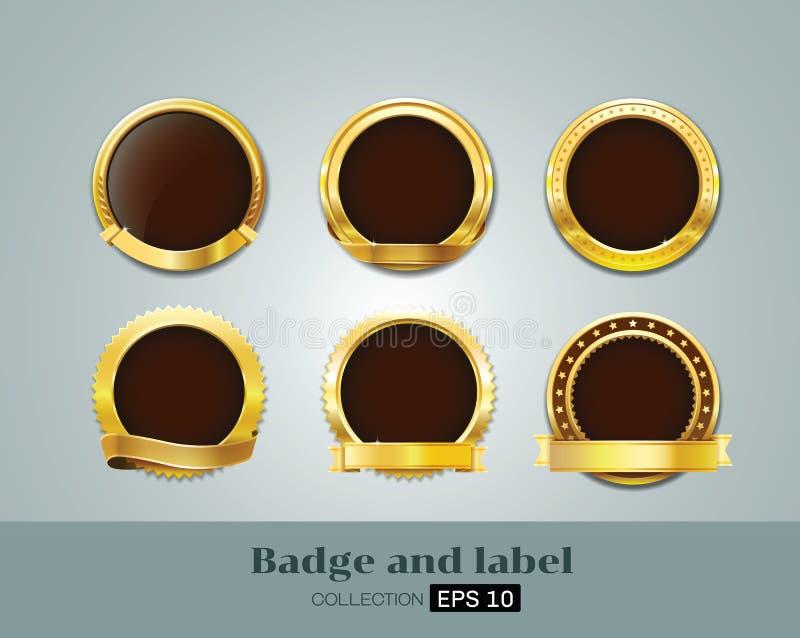 Διανυσματικές διακριτικά και ετικέτα του χρυσού συνόλου σφραγίδων απεικόνιση αποθεμάτων