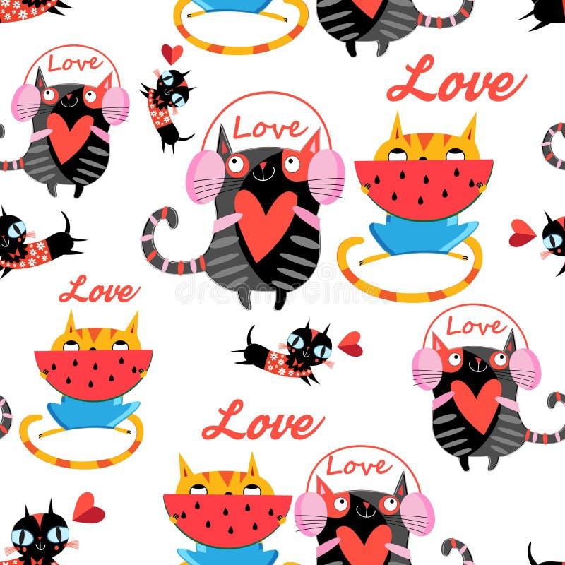 Διανυσματικές διασκεδάζοντας ερωτευμένες γάτες σχεδίων απεικόνιση αποθεμάτων