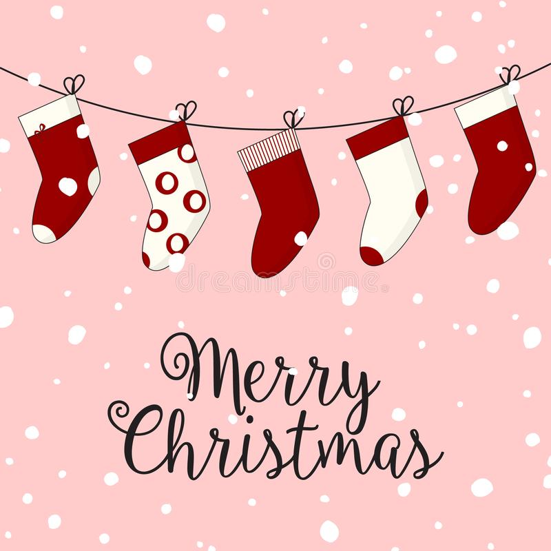 Διανυσματικές κάλτσες Χριστουγέννων στο σχοινί Χαριτωμένη διακόσμηση χειμερινών ευχετήριων καρτών Σχέδιο μπλουζών καλής χρονιάς γ διανυσματική απεικόνιση