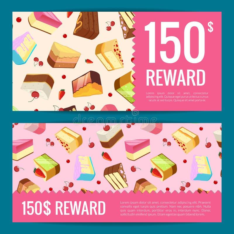Διανυσματικές κάρτες δώρων, εκπτώσεις ή πρότυπα αποδείξεων με τα κομμάτια, τα κεράσια και τις φράουλες κέικ στο υπόβαθρο ελεύθερη απεικόνιση δικαιώματος