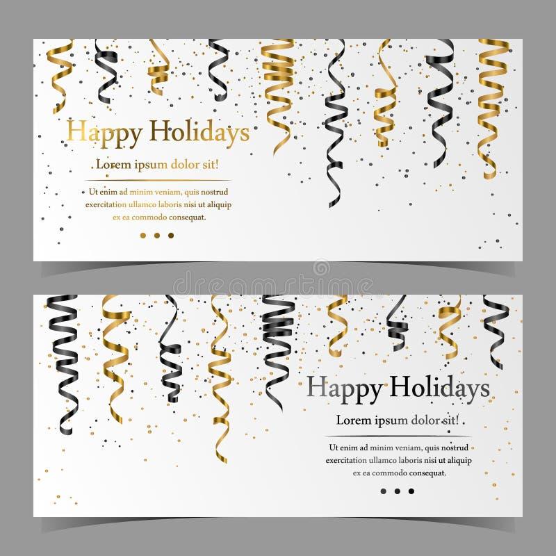 Διανυσματικές κάρτες με ασημένιο, χρυσό, μαύρο serpentine, κορδέλλα, κομφετί σκόνης στο άσπρο υπόβαθρο στοκ εικόνα με δικαίωμα ελεύθερης χρήσης