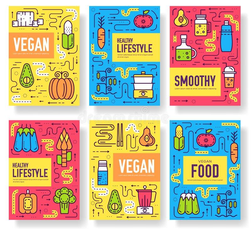 Διανυσματικές κάρτες φυλλάδιων Vegan καθορισμένες Φυτικό πρότυπο flyear, περιοδικά, αφίσες, κάλυψη βιβλίων, εμβλήματα χορτοφάγος διανυσματική απεικόνιση