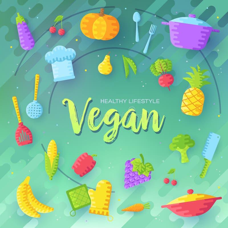 Διανυσματικές κάρτες φυλλάδιων Vegan καθορισμένες Φυτικό πρότυπο flyear, περιοδικά, αφίσες, κάλυψη βιβλίων, εμβλήματα χορτοφάγος απεικόνιση αποθεμάτων