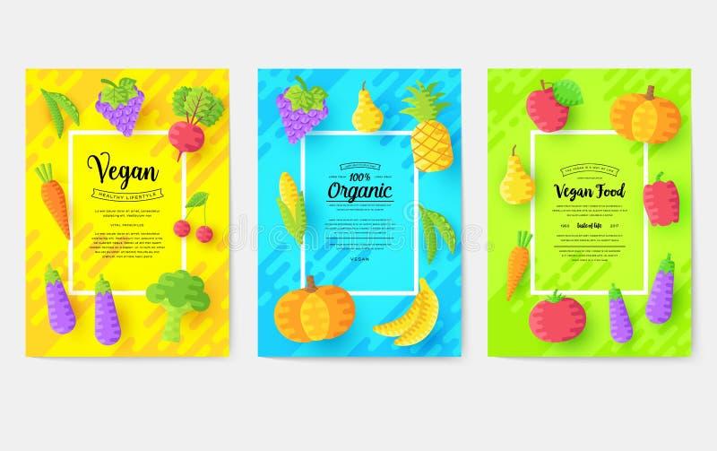 Διανυσματικές κάρτες φυλλάδιων Vegan καθορισμένες Φυτικό πρότυπο flyear, περιοδικά, αφίσες, κάλυψη βιβλίων, εμβλήματα χορτοφάγος ελεύθερη απεικόνιση δικαιώματος