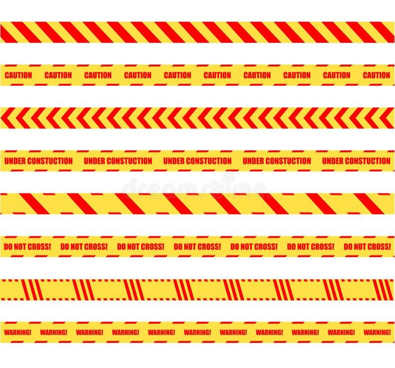 Διανυσματικές κίτρινες και κόκκινες ζωηρόχρωμες επικίνδυνες ταινίες προειδοποίησης καθορισμένες απομονωμένες στο άσπρο υπόβαθρο,  διανυσματική απεικόνιση