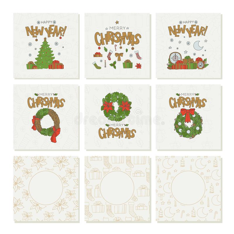 Διανυσματικές καθορισμένες ευχετήριες κάρτες με τα χρυσά Χριστούγεννα εγγραφής και τα νέα άνευ ραφής σχέδια έτους Σύμβολα και στε απεικόνιση αποθεμάτων