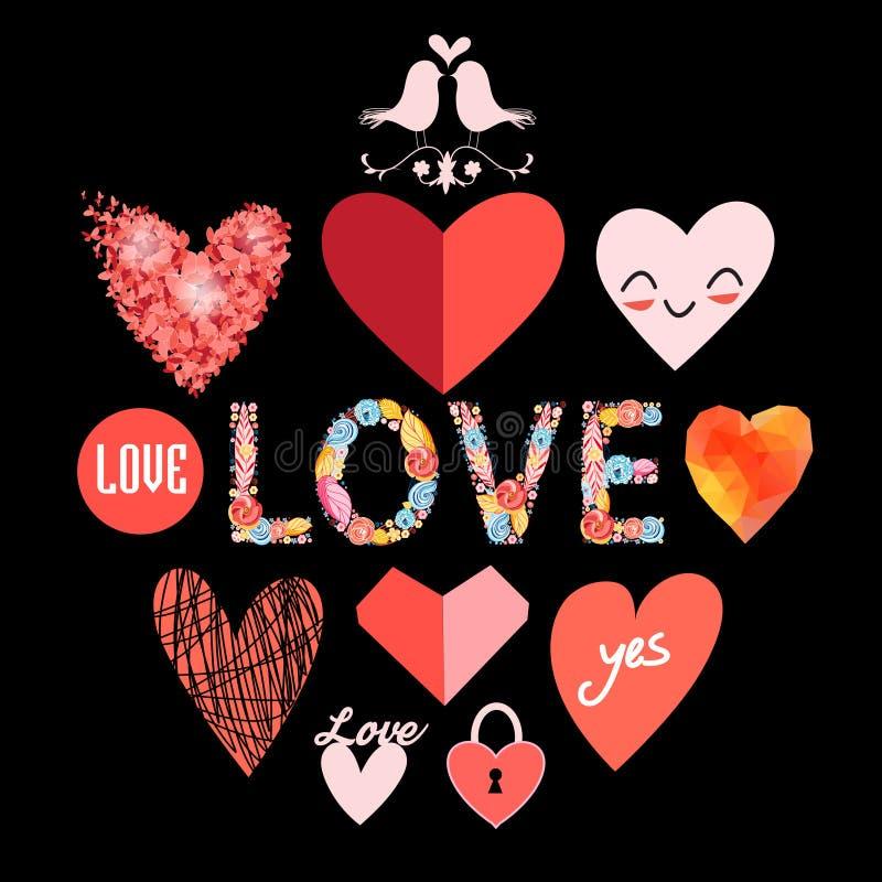 Διανυσματικές καθορισμένες καρδιές διανυσματική απεικόνιση