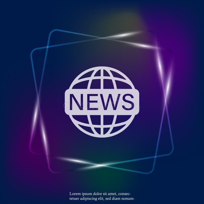 Διανυσματικές καθορισμένες παγκόσμιες ειδήσεις εικονιδίων νέου ελαφριές Ειδήσεις επιγραφής εικόνας επάνω διανυσματική απεικόνιση