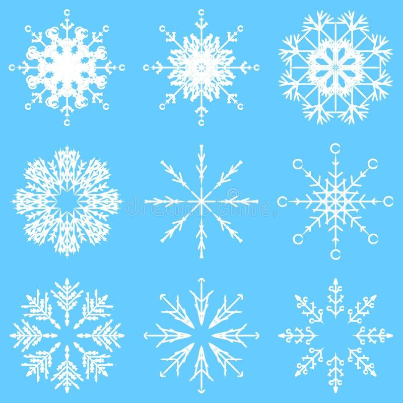 Διανυσματικές καλλιτεχνικές παγωμένες αφηρημένες νιφάδες χιονιού κρυστάλλου απεικόνιση αποθεμάτων