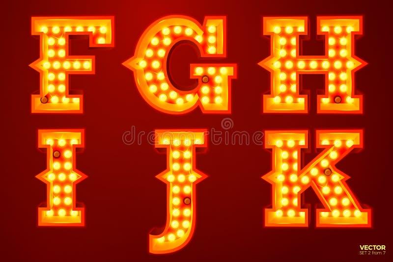 Διανυσματικές καμμένος επιστολές λαμπτήρων για το τσίρκο, τον κινηματογράφο κ.λπ. διανυσματική απεικόνιση
