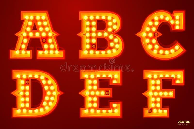 Διανυσματικές καμμένος επιστολές λαμπτήρων για το τσίρκο, τον κινηματογράφο κ.λπ. ελεύθερη απεικόνιση δικαιώματος