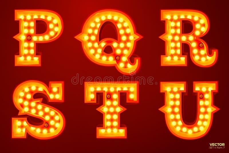 Διανυσματικές καμμένος επιστολές λαμπτήρων για το τσίρκο, τον κινηματογράφο κ.λπ. απεικόνιση αποθεμάτων