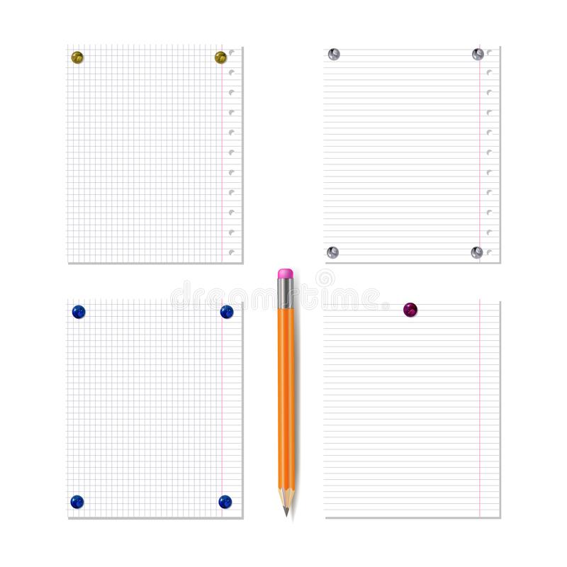 Διανυσματικές κενές σελίδες βιβλίων σημειώσεων που καρφώνονται τα ρεαλιστικά κουμπιά καρφιτσών, που τίθενται από το μολύβι που απ ελεύθερη απεικόνιση δικαιώματος
