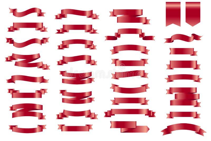 Διανυσματικές κόκκινες κορδέλλες εμβλημάτων Σύνολο 34 κορδελλών απεικόνιση αποθεμάτων