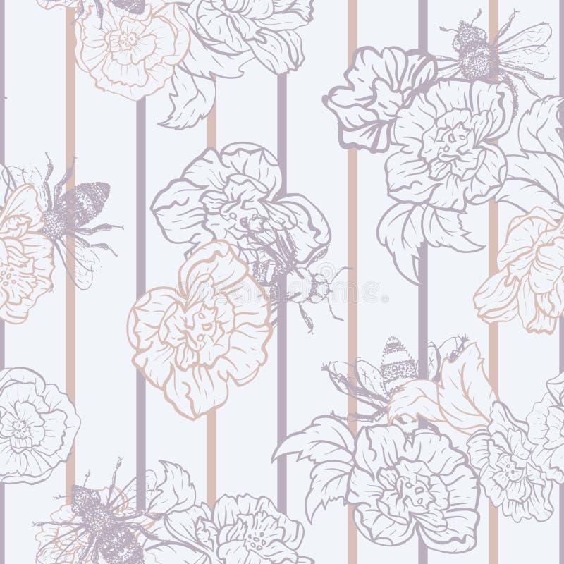 Διανυσματικές μέλισσες μελιού με τα τριαντάφυλλα στο άνευ ραφής υπόβαθρο σχεδίων λωρίδων ελεύθερη απεικόνιση δικαιώματος