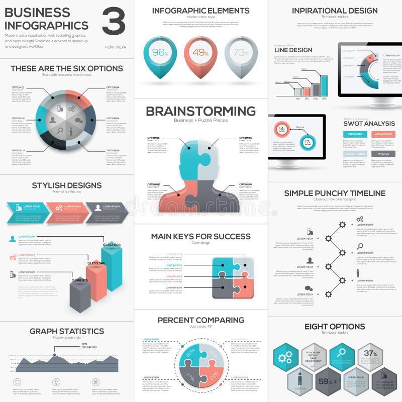 Διανυσματικές μεταφορές επιχειρησιακών τορνευτικών πριονιών infographics κομματιού γρίφων καθορισμένες ελεύθερη απεικόνιση δικαιώματος