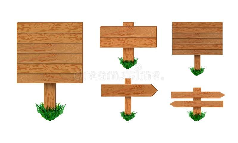 Διανυσματικές ξύλινες πινακίδες καθορισμένες απομονωμένες στο άσπρο υπόβαθρο, ξύλινη συλλογή σημαδιών βελών ελεύθερη απεικόνιση δικαιώματος