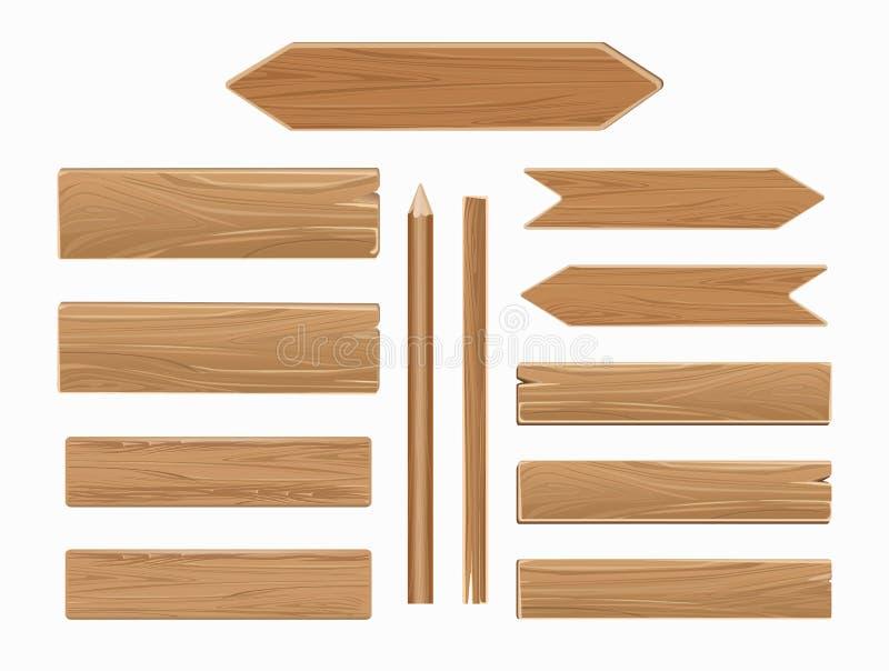 Διανυσματικές ξύλινες σανίδες που απομονώνονται στην άσπρη συλλογή απεικόνιση αποθεμάτων