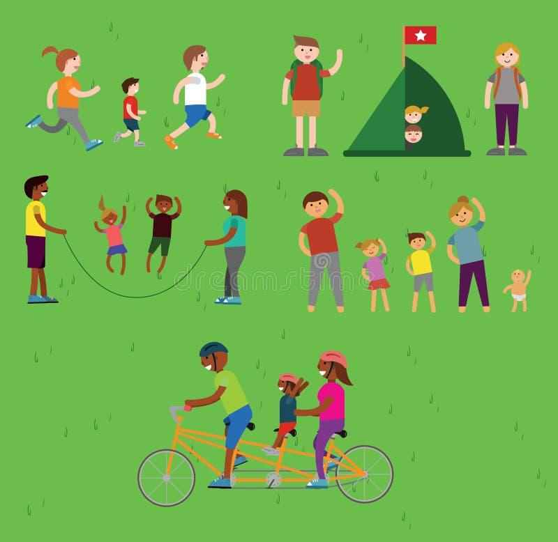 Διανυσματικές οικογένειες που κάνουν τον αθλητισμό και τις δραστηριότητες ελεύθερη απεικόνιση δικαιώματος