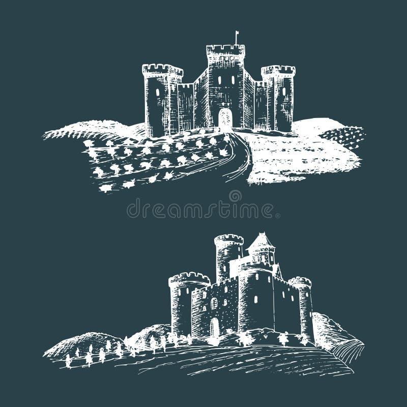 Διανυσματικές παλαιές απεικονίσεις κάστρων Συρμένα χέρι σκίτσα των τοπίων με τους αρχαίους πύργους μεταξύ των αγροτικών τομέων κα απεικόνιση αποθεμάτων
