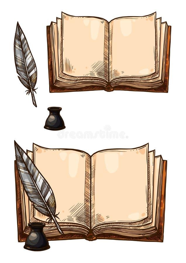 Διανυσματικές παλαιές βιβλία και μάνδρες φτερών καλαμιών μελανιού ελεύθερη απεικόνιση δικαιώματος