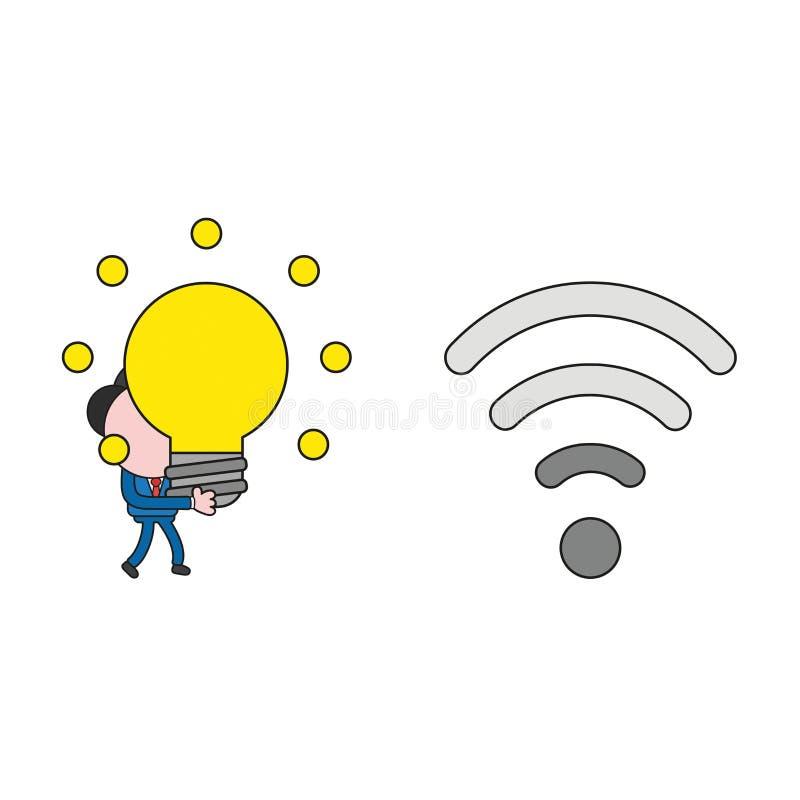Διανυσματικές περπάτημα χαρακτήρα επιχειρηματιών και ιδέα λαμπών φωτός πυράκτωσης μεταφοράς στο ασύρματο wifi με το χαμηλό σήμα χ διανυσματική απεικόνιση