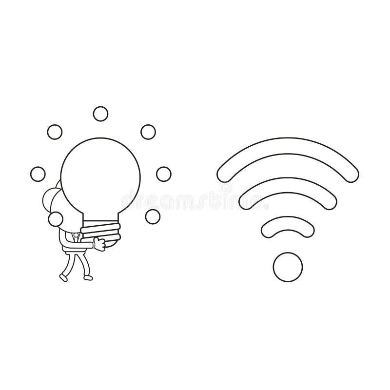Διανυσματικές περπάτημα χαρακτήρα επιχειρηματιών και ιδέα λαμπών φωτός πυράκτωσης μεταφοράς στο ασύρματο wifi με το χαμηλό σήμα Μ διανυσματική απεικόνιση