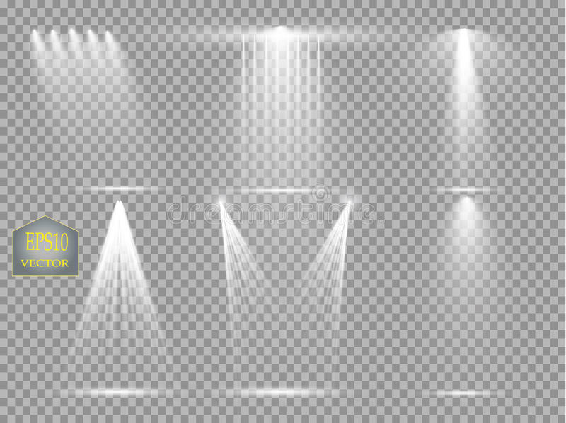 Διανυσματικές πηγές φωτός, φωτισμός συναυλίας, επίκεντρα σκηνών καθορισμένα Επίκεντρο συναυλίας με την ακτίνα, φωτισμένα επίκεντρ απεικόνιση αποθεμάτων