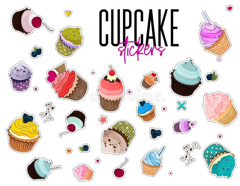 Διανυσματικές πολυ χρωματισμένες αυτοκόλλητες ετικέττες αρτοποιείων Καρφίτσα τροφίμων με muffins Καθορισμένο μπάλωμα Cupcake κινο απεικόνιση αποθεμάτων