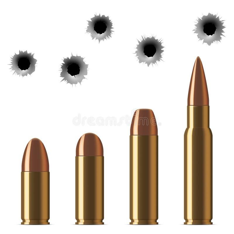 Διανυσματικές πυροβοληθείσες σφαίρες και τρύπες από σφαίρα πυροβόλων όπλων που απομονώνονται στο λευκό απεικόνιση αποθεμάτων