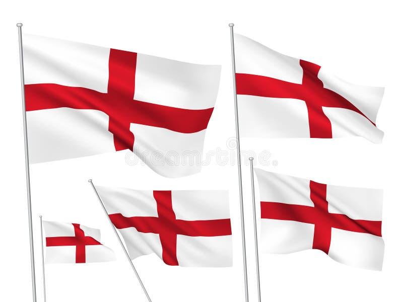 Διανυσματικές σημαίες της Αγγλίας διανυσματική απεικόνιση