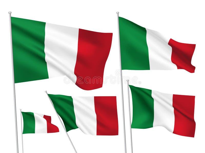 Διανυσματικές σημαίες της Ιταλίας διανυσματική απεικόνιση