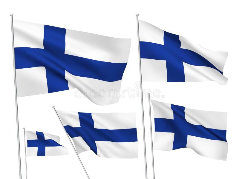 Διανυσματικές σημαίες της Φινλανδίας διανυσματική απεικόνιση