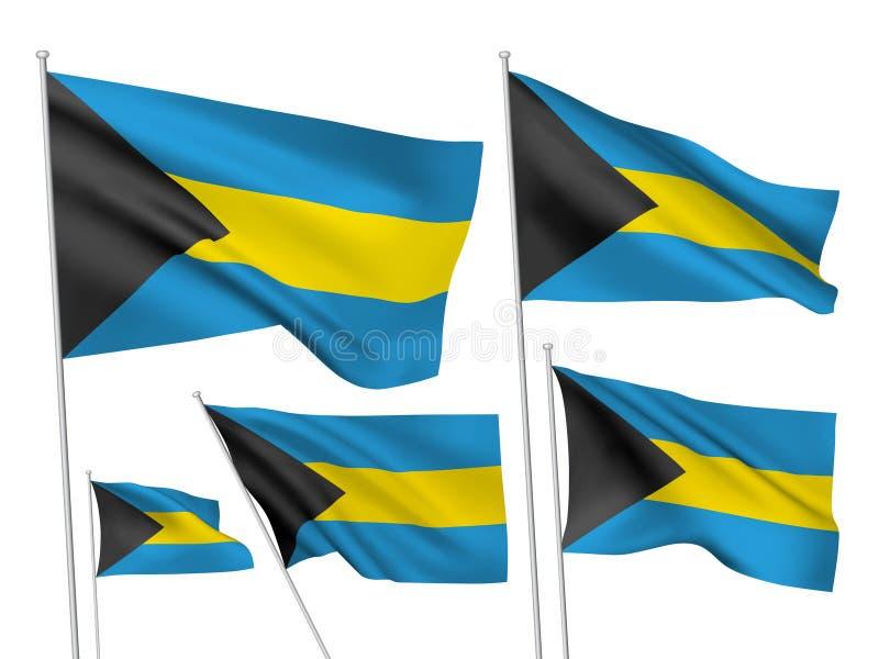 Διανυσματικές σημαίες των Μπαχαμών απεικόνιση αποθεμάτων