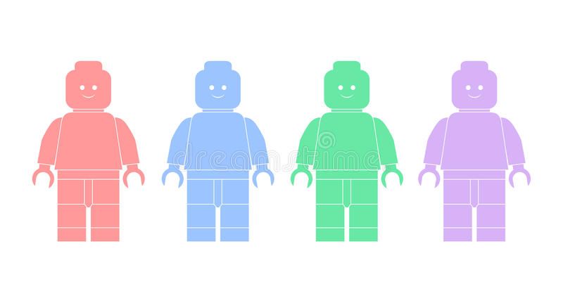 Διανυσματικές σκιαγραφίες απεικόνισης των ατόμων lego διανυσματική απεικόνιση
