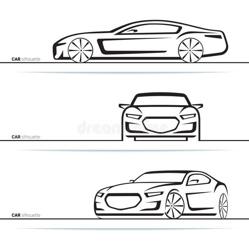 Διανυσματικές σκιαγραφίες αυτοκινήτων καθορισμένες Μπροστινή, τριών τετάρτων και πλάγια όψη διανυσματική απεικόνιση
